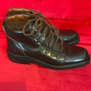 90s Gucci brown leather lace-up US6.5 ankle boots